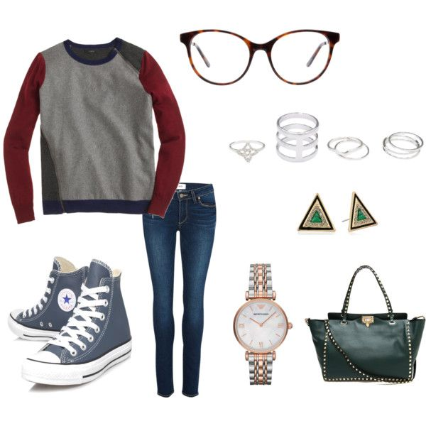 A fashion look from November 2014 featuring J.Crew sweaters, Paige Denim jeans and Converse sneakers. Browse and shop related looks.