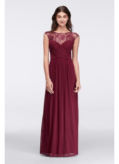Long Ruched Bodice Gown with Illusion Lace Yoke ASAAZBCG