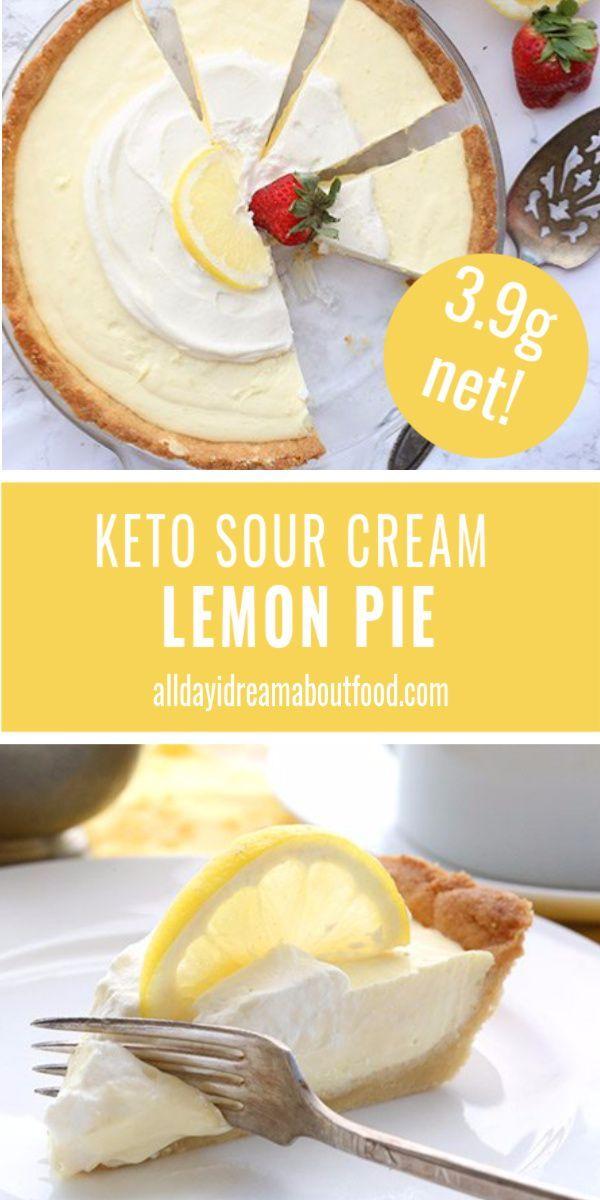 Keto Lemon Sour Cream Pie In 2020 Lemon Sour Cream Pie Sugar Free Pie Keto Dessert Recipes