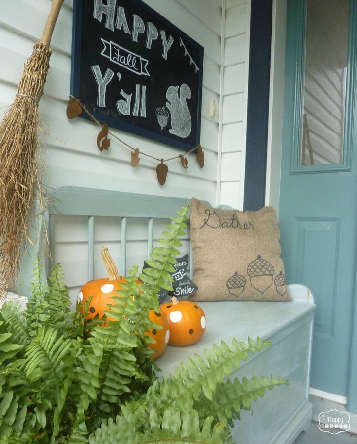 Fall Front Porch with DIY two-sided sharpie pillow covers by thehappyhousie