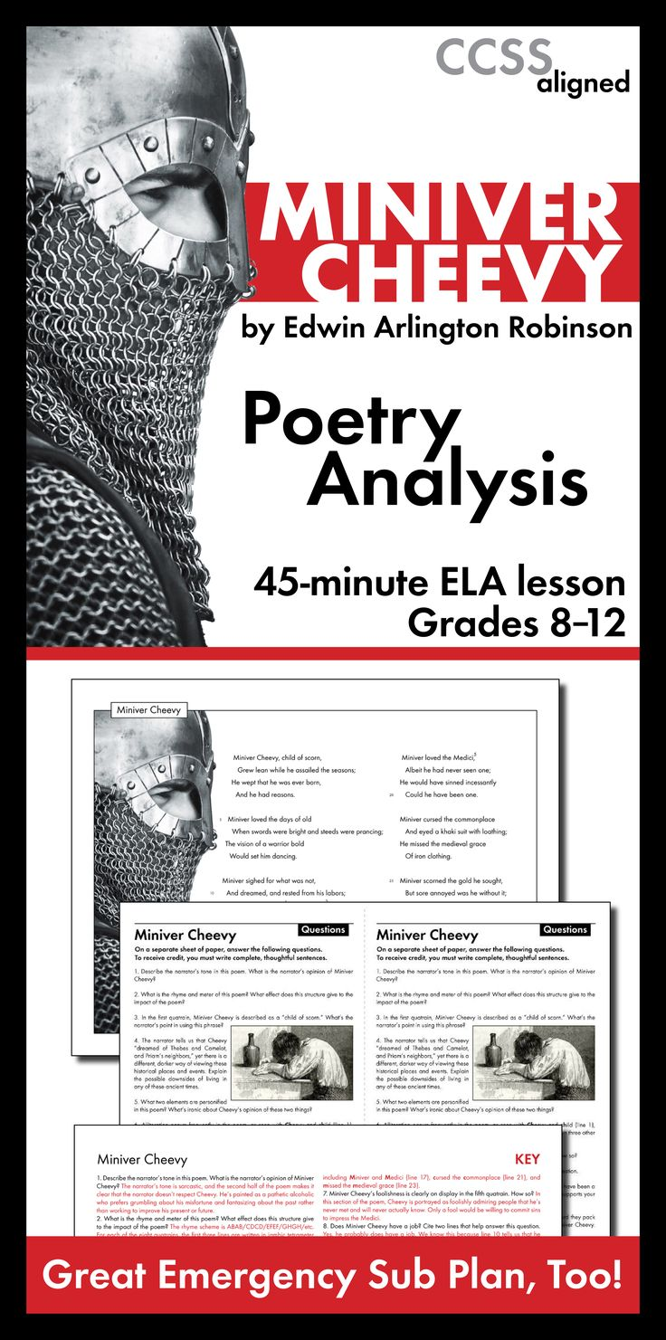 a comprehensive analysis of miniver cheevy a poem by edwin arlington robinson Category: poetry analysis title: edwin arlington robinson's  in edwin  arlington robinson's poem, the character, miniver cheevy, is a self-pitying   click the button above to view the complete essay, speech, term paper, or  research paper.