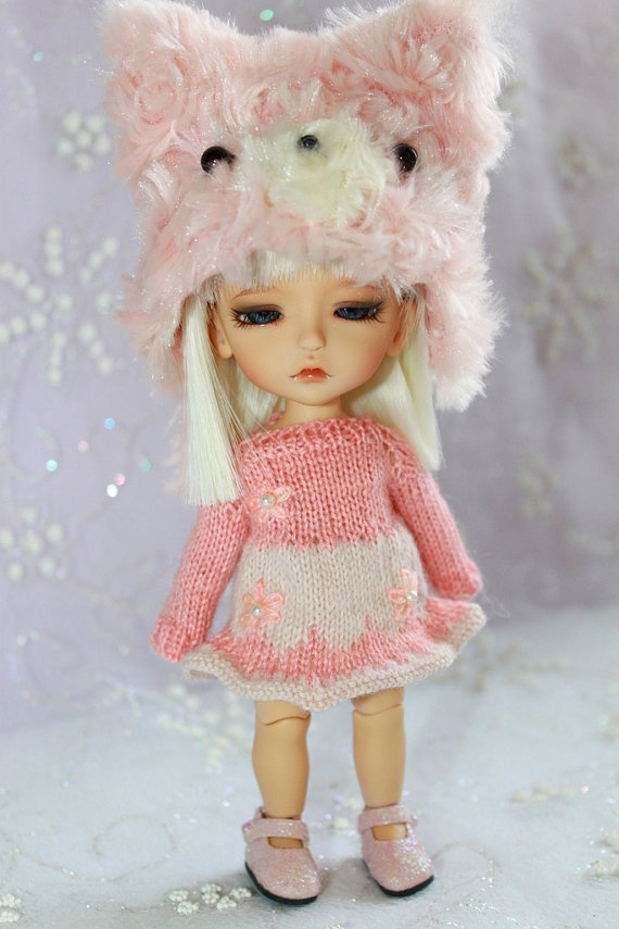 LATI Yellow PukiFee  SalmonCream Knitted Wintery by DoLLYSToRY, $32.00