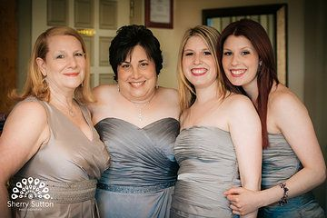 Grey wedding gown. Grey bridesmaid dresses. Photo from Merrily + Anil collection by Sherry Sutton Photography (www.sherrysutton.com). Stonehouse at Stirling Ridge Wedding.