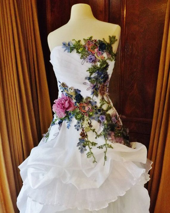 Victorian Wedding Dress Train White Multicolor Lace Roses Embroidered Appliques Size 6-10. $1,499.99, via Etsy.