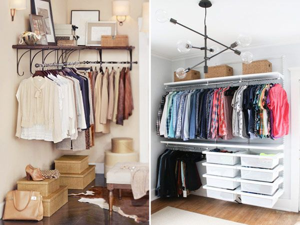 apartamentos pequenos e brancos - closet aberto