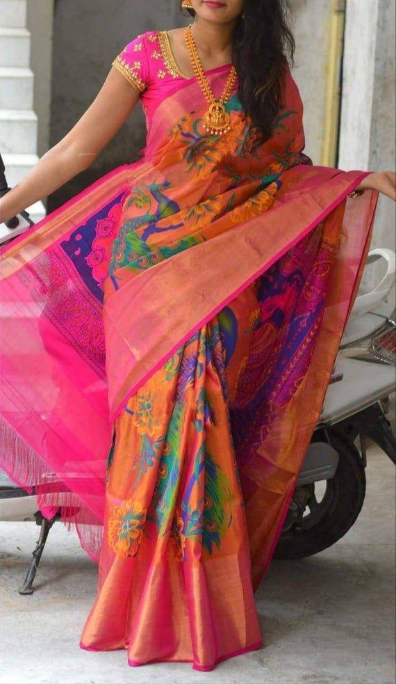 Uppada printed pure silk saree in yellow and green with wide zari border,handwoven uppada jamdani saree,uppada silk saree with floral print