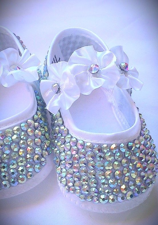 Crystal encrusted baby shoes.... Available from www.facebook.com/preciousaccessories.co.uk