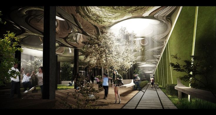 """http://www.archipanic.com/the-lowline/  THE LOWLINE  It's high time for the world's first underground park. New York City is working on the LOWLINE, the haedan sister of the worldwide famous HighLine. The project by James Rasmey, Dan Barasch and their team will stretch under the Lower East Side using an innovative technology: """"Remote skylights"""" will concentrate natural sunlight at street level, and then channel it underground, generating enough light to support photosynthesis."""