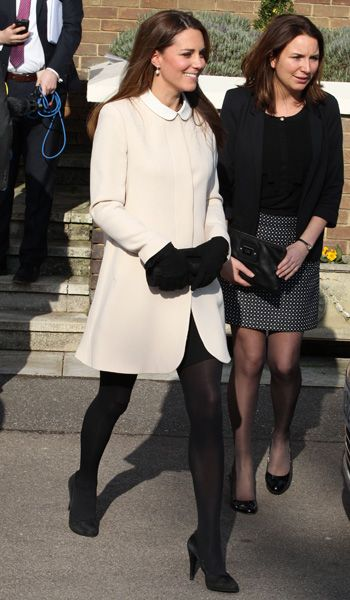Great maternity look and beyond... Kate Middleton, Topshop Contrast Collar Dress And Goat Redgrave Coat, Child Bereavement UK