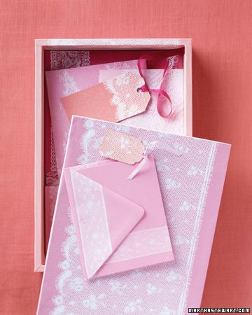 Lace-Print Stationery How to // Elegant, airy letter-writing supplies, slipped inside a blush-colored box, will lend a dreamy feeling to every word you write. Ink, lace, paper, and a simple printing method are all you need to create this set.