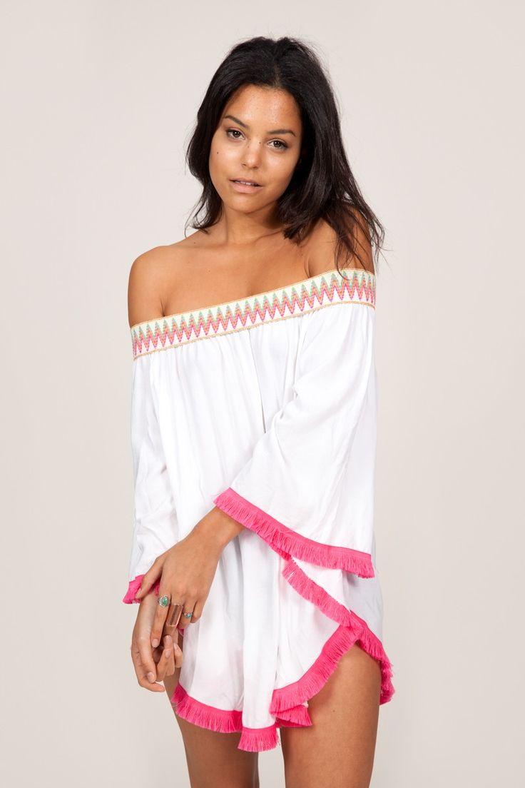 Robe blanche bustier à pompons fuchsia