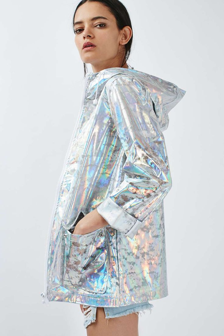 Holografische Regenjacke Petite-Größe - Topshop