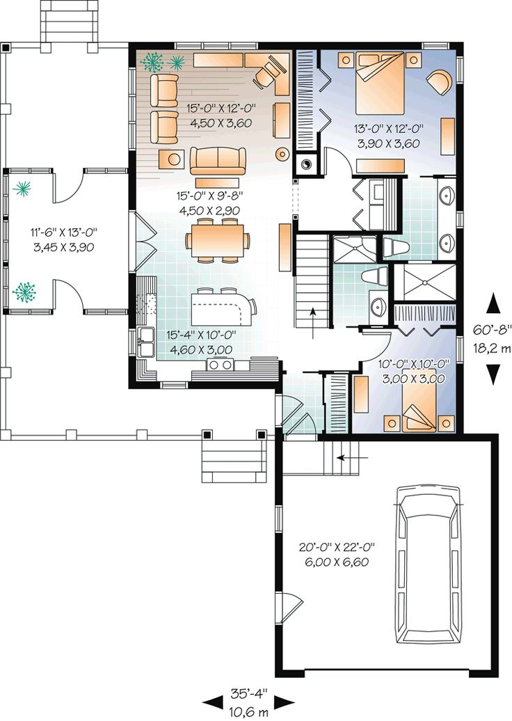 First Floor Plan of Cottage   House Plan 76335