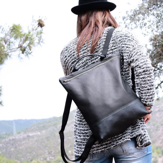 Leather Backpack black, backpack woman, craft leather backpack, travel sac, black leather backpack, big backpack, biggest,  Handmade Bcn