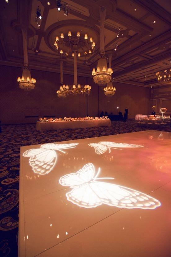 Fancy That! Events, Butterfly Decor, Dance Floor Lights, Gobo Light, Butterfly Monogram, White Dance Floor, Bellagio Wedding