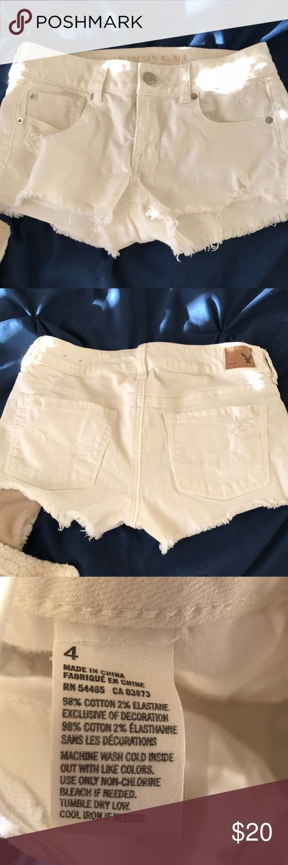 American eagle white jean shorts size 4 Only worn a few times, perfect for summer!! American Eagle Outfitters Shorts Jean Shorts