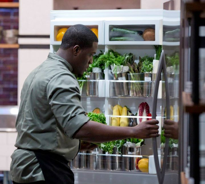 Chef Adrian searches for the perfect ingredients in our Chopped Canada fridge.