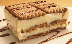 Tarta de galleta y crema de chocolate blanco