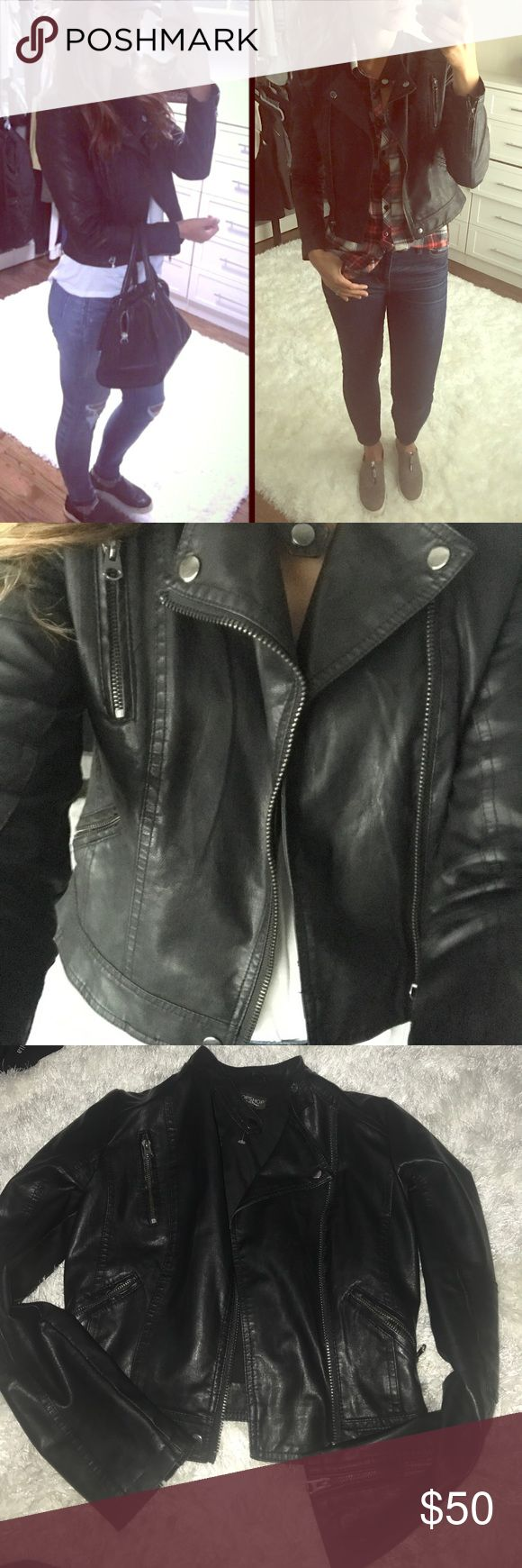 Black faux moto leather jacket Black faux leather jacket- almost new I bought this a size too small and ripped the tags off too soon! I've worn it once or twice for a little because it's super trendy and cute but the sleeves are a tad tight on me!! I'm 5'8 135 lbs for reference! Topshop Jackets & Coats