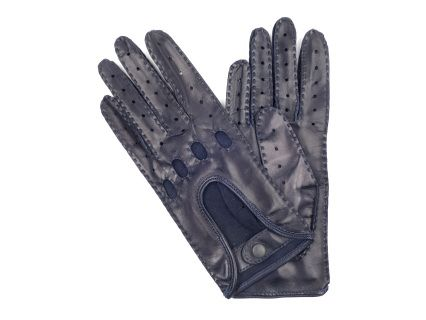 These gloves are made of navy lambskin, in a classic design with manual sewing.They close with a leather dressed snap at the wrist.