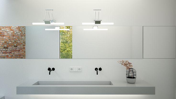 Betonnen wasbak met 2 Vola kranen onder lange spiegel met kastruimte. www.joepvanos.nl