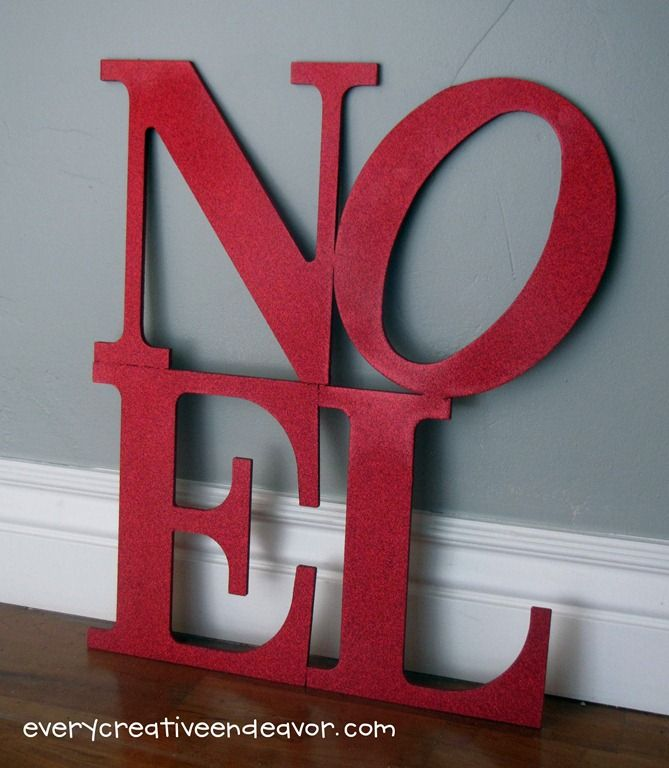 DIY - premade letters from craft store, red paint, red glitter. So easy!