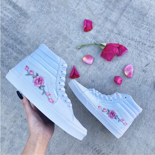 Custom Vans Rose Vans Hightop Vans Custom Rose Vans Rose Custom Vans... ($100) ❤ liked on Polyvore featuring shoes, sneakers, hi tops, red, sneakers & athletic shoes, women's shoes, high top trainers, high-top sneakers, unisex shoes and unisex sneakers