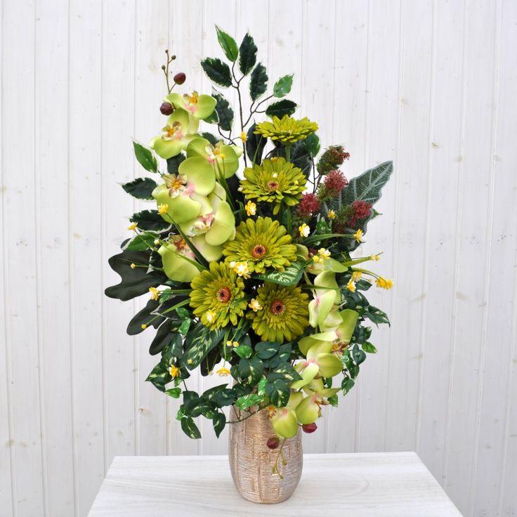 Bouquet fiori artificiali gerbera verde per cimitero | Fiori & Fiori