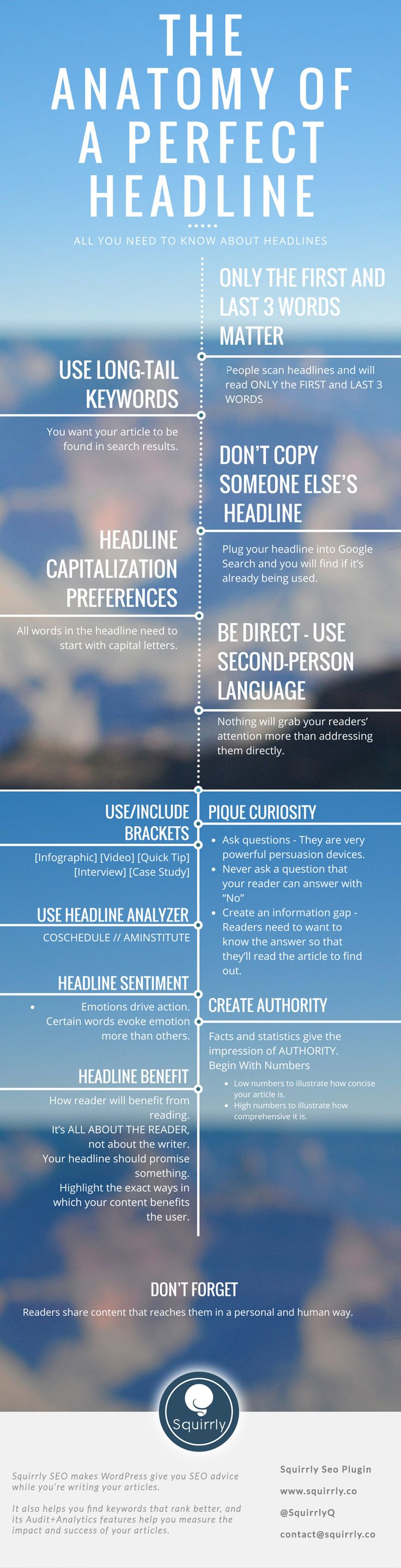 Create Best Headlines Infographic - How do you get people to actually read what you write? https://www.squirrly.co/how-to-write-perfect-headlines-that-give-you-results
