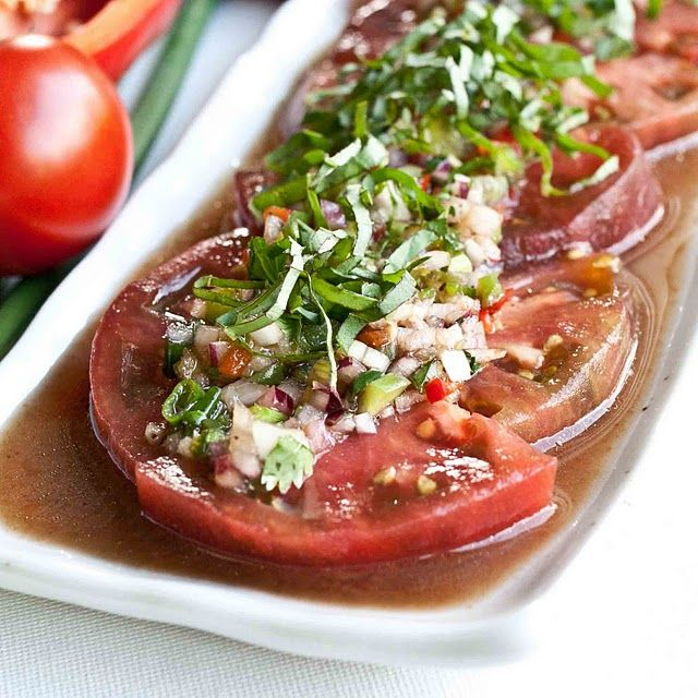 Marinated Tomato Salad. I will make this when my tomatoes grow :)