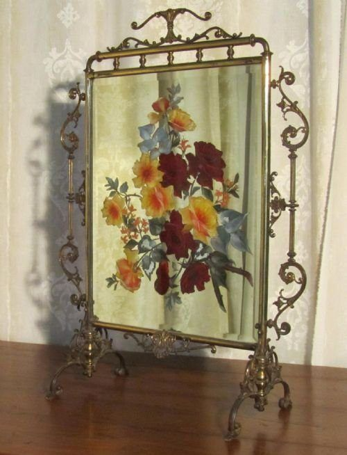Victorian Brass And Beveled Mirror Fire Screen, Hand Painted With A Colorful, Bold Floral Decoration
