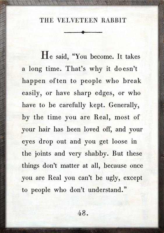 Velveteen Rabbit quote for the nursery or kids room!