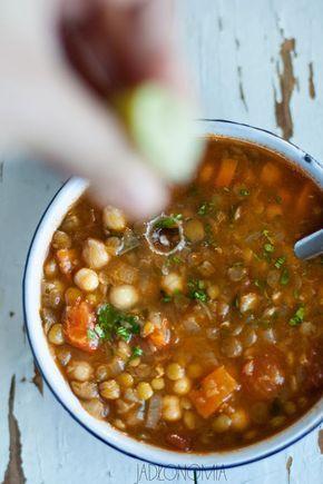 Harira - zupa (ciecierzyca, czerwona soczewica, zielona soczewica)