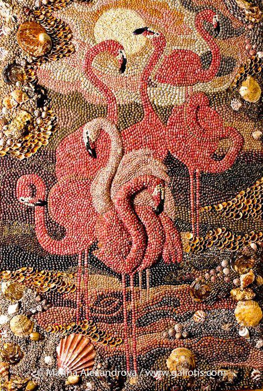 """""""Flamingo"""",wall seashell mosaic from Marina Alexandrova. Just down right beautiful!!"""