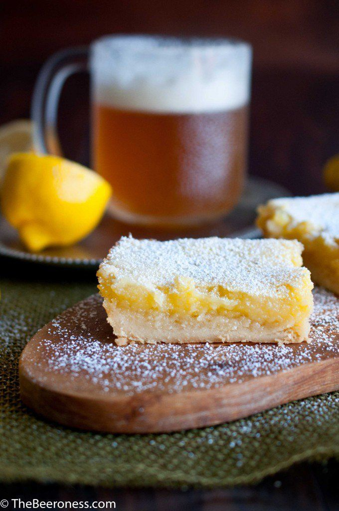 IPA Lemon Bars-Sweet lemon bars with the unique flavor of a hoppy IPA beer.Eat Your Beer! 7 Fantastic National IPA Beer Day Recipes