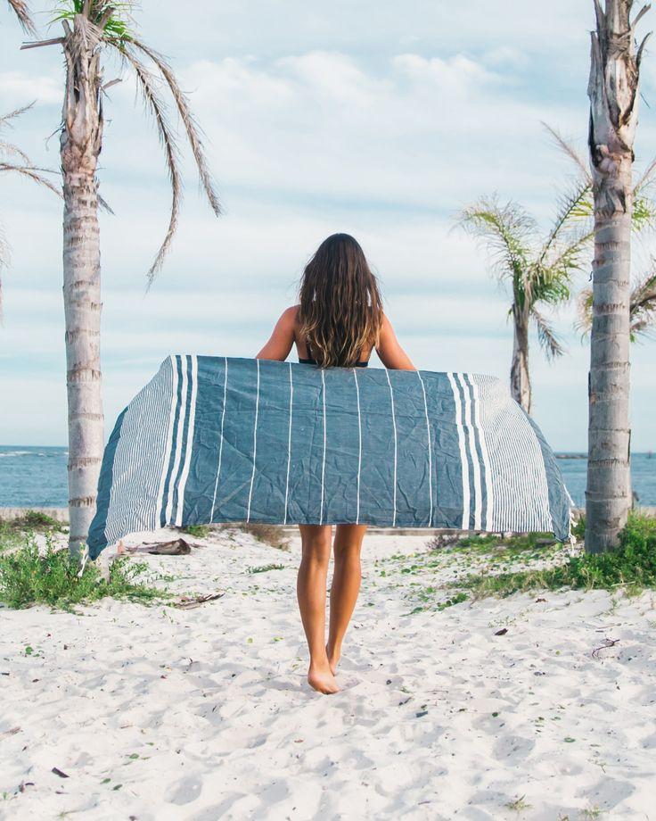 Navy Blue Summer Beach Towel from https://thebohemianshop.com