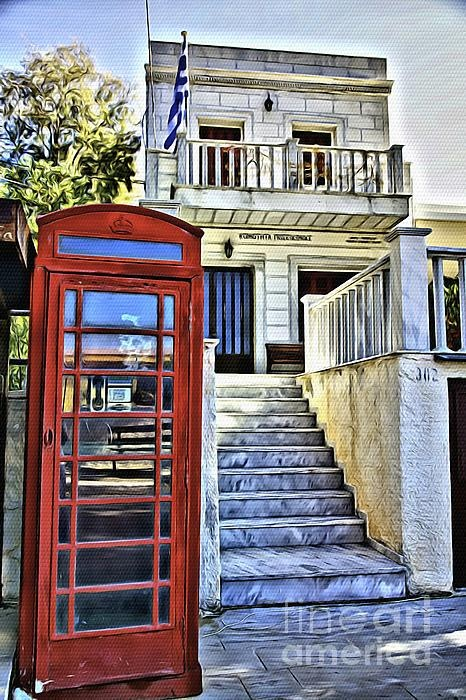 British BT Phone Booth on the Island of Syros in Greece.