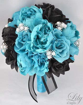 17pcs Wedding Bridal Bouquet Set Silk Flower Decoration Package TURQUOISE BLACK