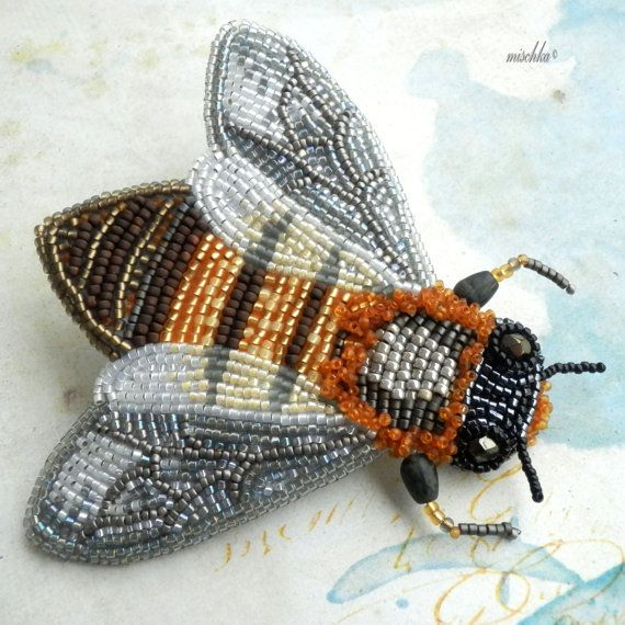 Bead Embroidered Brooch Honey Bee by beadedmischka on Etsy