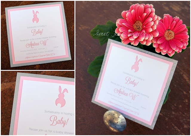 20 best invitations images on pinterest shower ideas shower diy spring bunny baby shower invitations in pink and silver filmwisefo Image collections