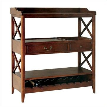 Wayborn Eiffel Open Storage Sideboard with Wine Rack in Brown transitional buffets and sideboards
