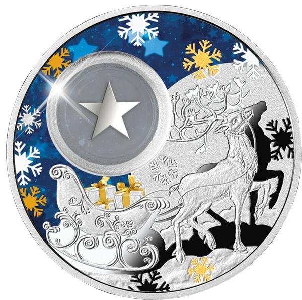 Счастливого Рождества! Серебряная монета 28.28 г со звёздочкой внутри 1 доллар Ниуэ Остров 2015 Монетный двор Польши Цена от 2250 грн. Превосходный подарок на Новый Год