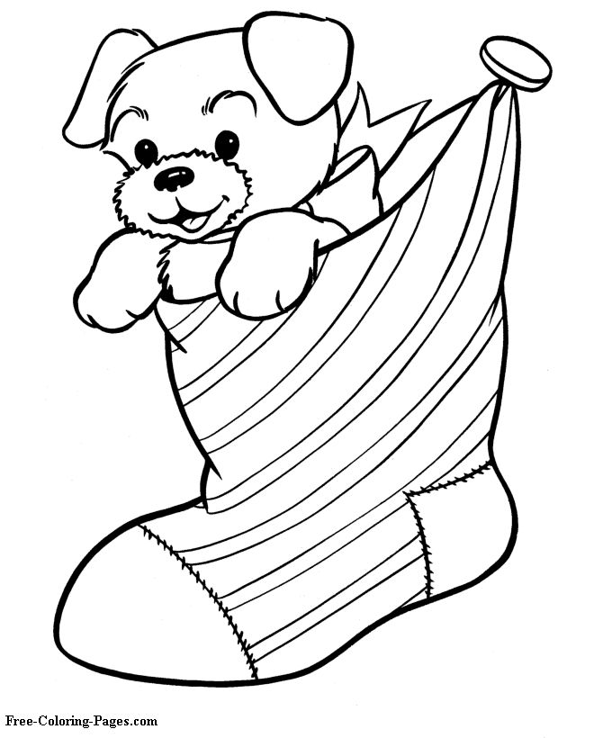 christmas coloring pages christmas stocking - Color Pitchers