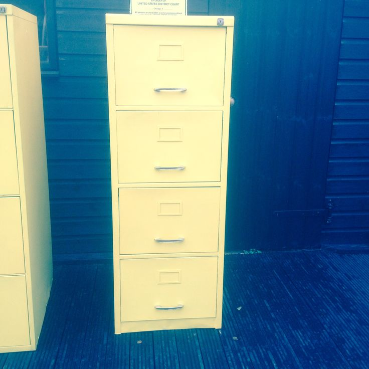 Large Metal Filing Cabinet with 4 deep drawers Perfect for the Industrial look in the Home, Shop Bar or Office Painted yellow, a few nicks n bumps