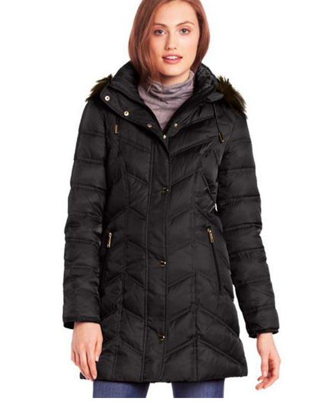 Buy Now black Kenneth Cole girlss Chevron Down Jacket ...