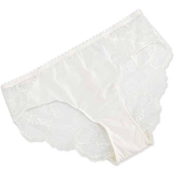 Wacoal European Vision Lace Bikini Briefs ($29) ❤ liked on Polyvore featuring intimates, panties, pearl, scalloped bikini bottoms, swim bikini bottoms, lace bikini bottoms, wacoal and floral bikini bottoms