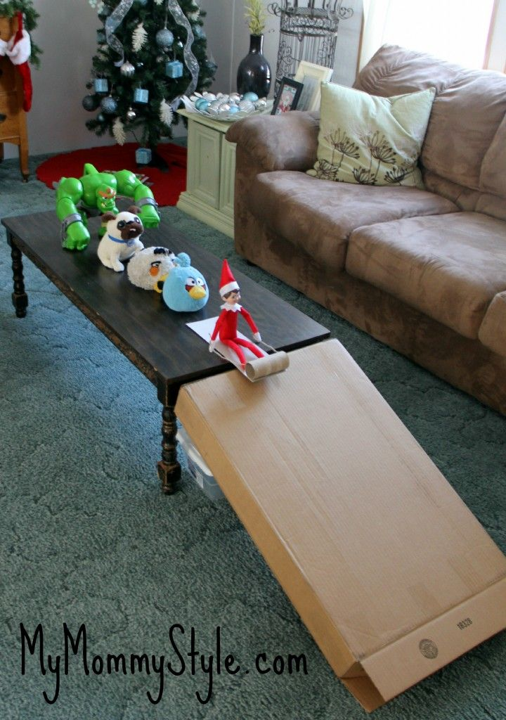 Elf on the Shelf idea - Elf sledding