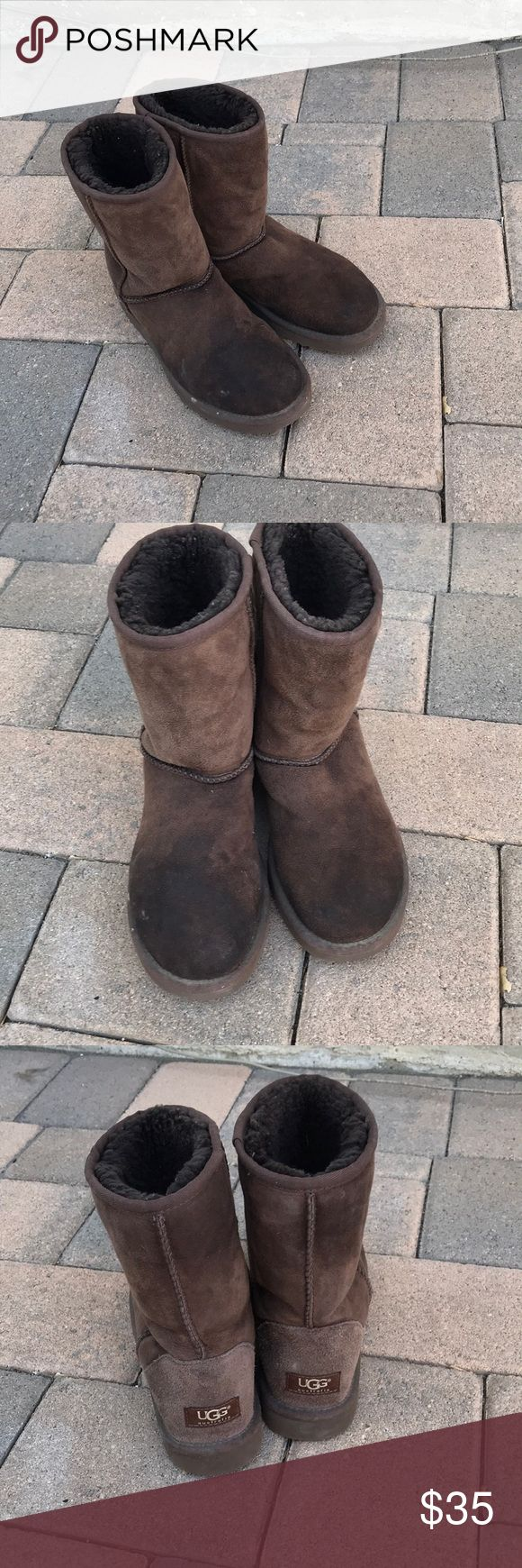 UGG Short Boots (110) Signs of wear, scuff marks on the shoe, fur a little worn, some lint in the shoe, stains on the shoe (see picture), discoloration from wear, no holes or tears. See pictures for accurate description UGG Shoes Winter & Rain Boots