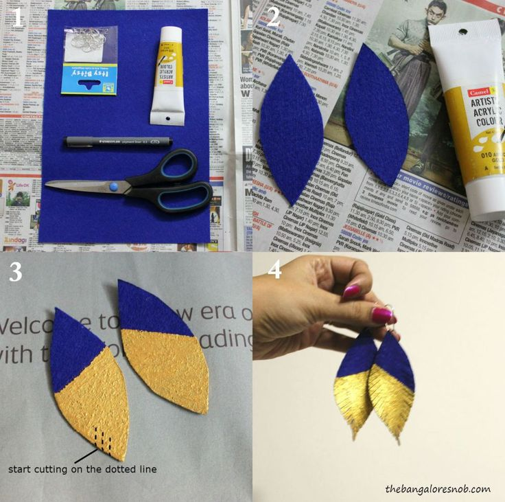 DIY Steps for Gold Dipped Felt Earrings | The Bangalore Snob