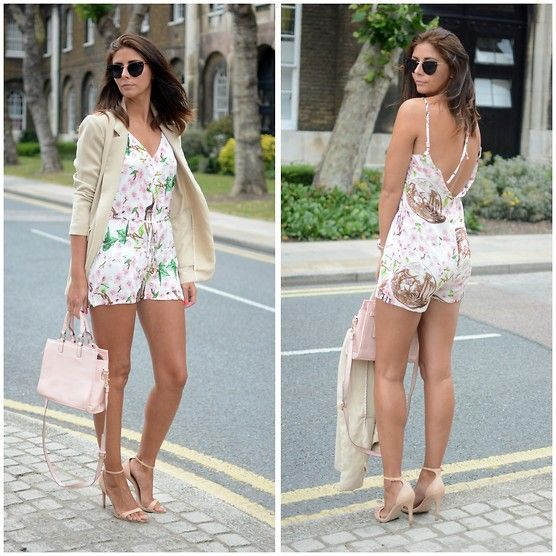 Missguided Printed Playsuit, Forever 21 Boyfriend Blazer, Miss Selfridge Pastel Pink Bag, Zara Strappy Heels, Forever 21 Cats Eye Sunglasses